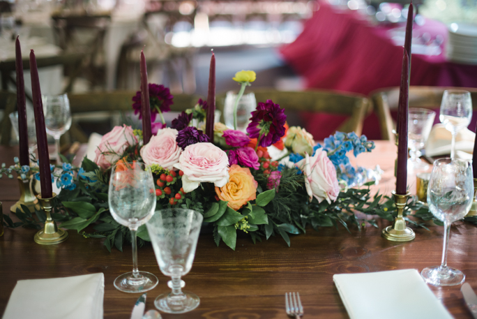 Glasses and flowers on the table