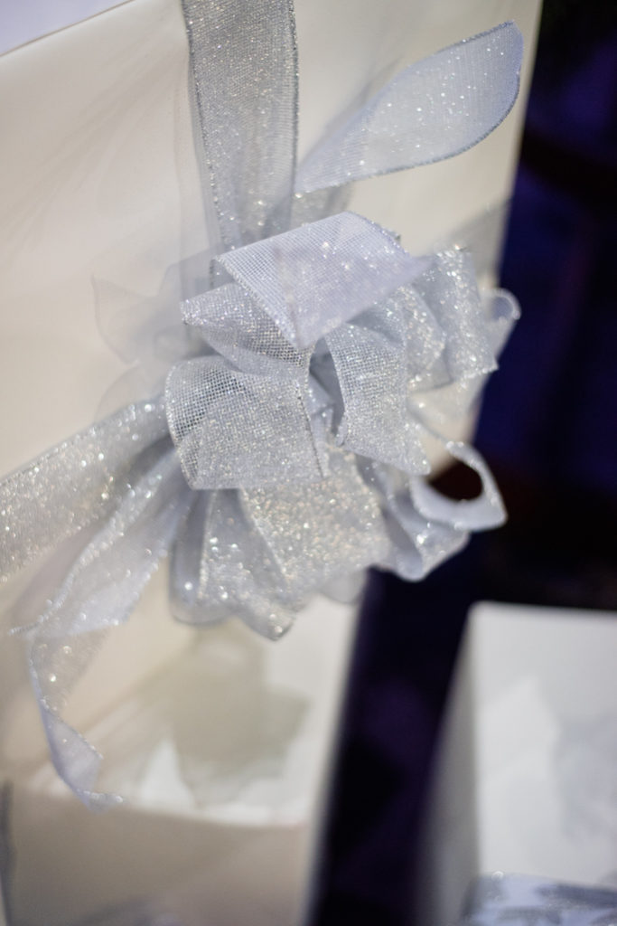White gift box with a ribbon
