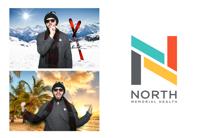 Two photos of a guy wearing sun glasses