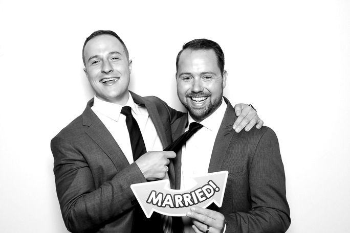 Black and white photo of  two men