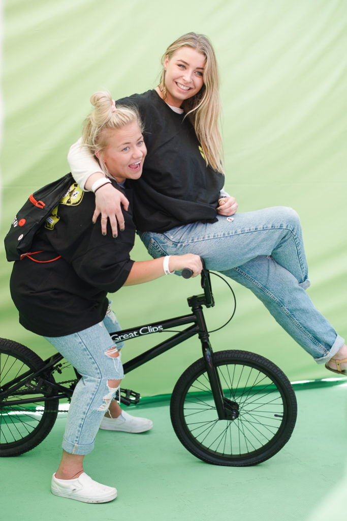 Two girls on a bike