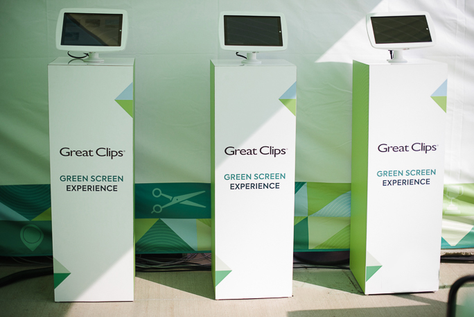 three kiosks with tablets