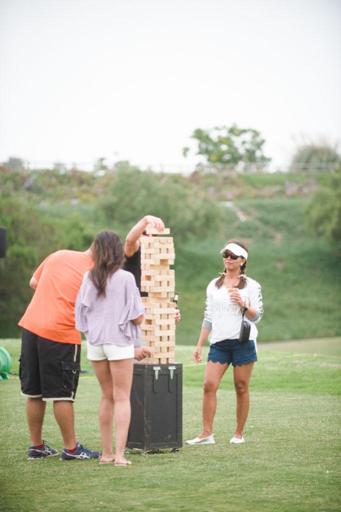 People playing jenga
