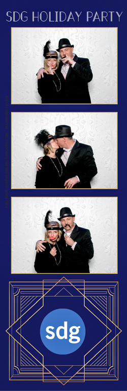 A photo strips with a dressed up couple smiling