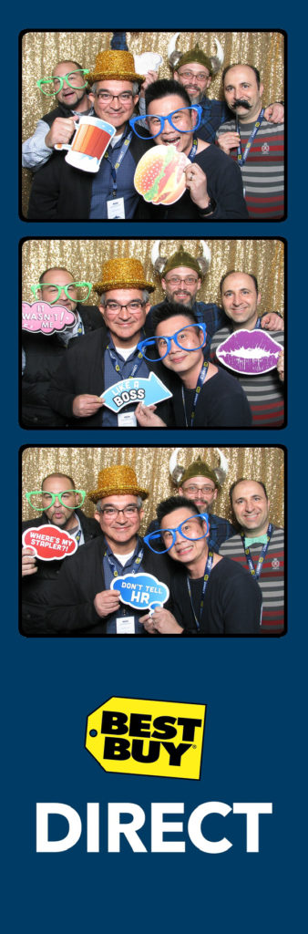 photo strip with 5 people smiling