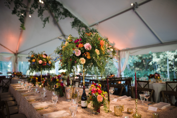 table decor with flowers wine and candles