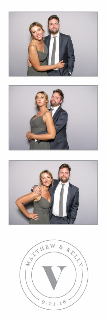 three photos of a couple wearing a suit and a dress with a logo on the bottom