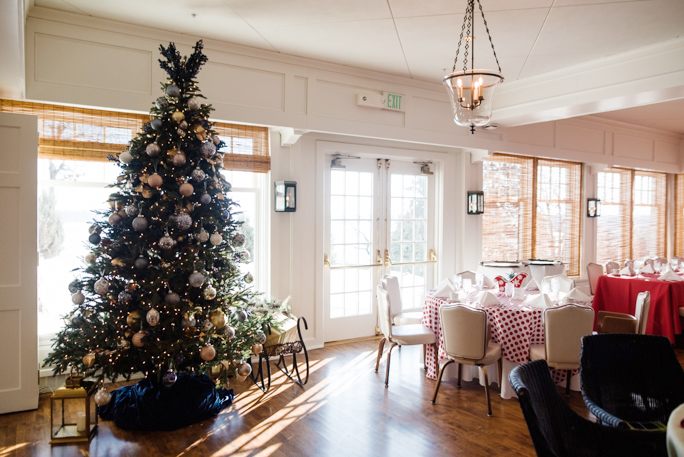 Room with a decorated Christmas tree