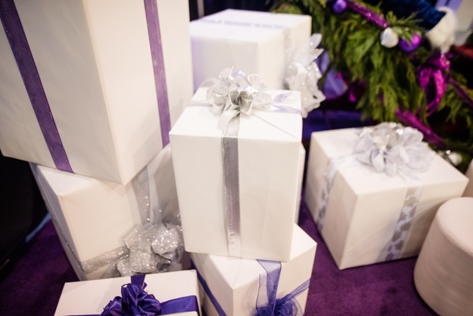White gift boxes with ribbons