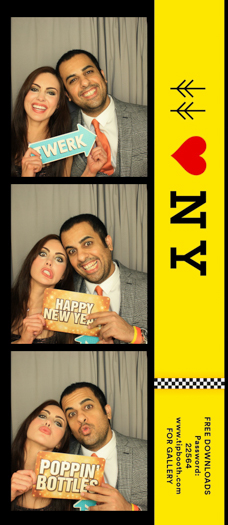 Three photos of a couple in a photo booth