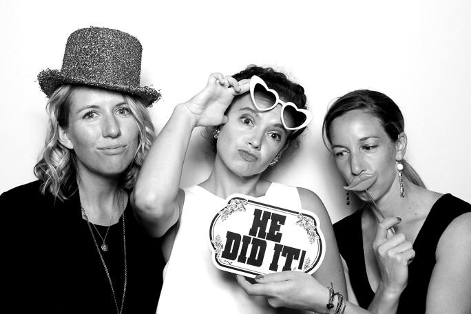 Black and white photo of three women