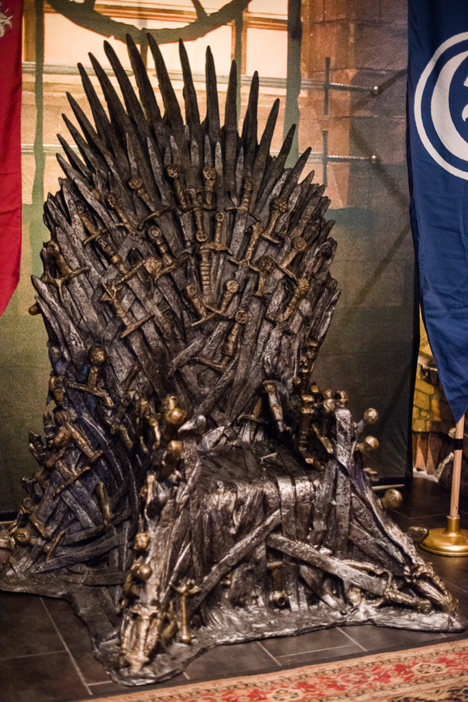 a metal throne