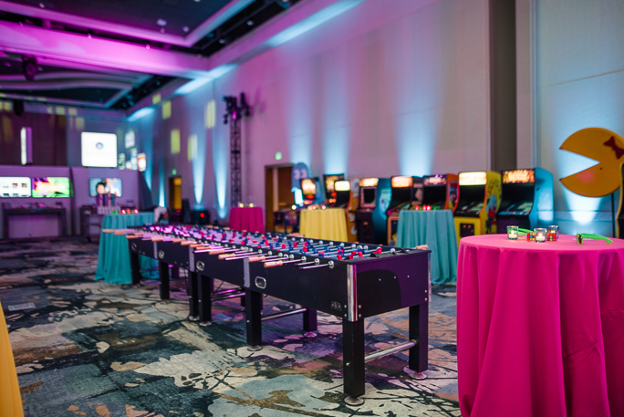 Decorated room with a foosball table