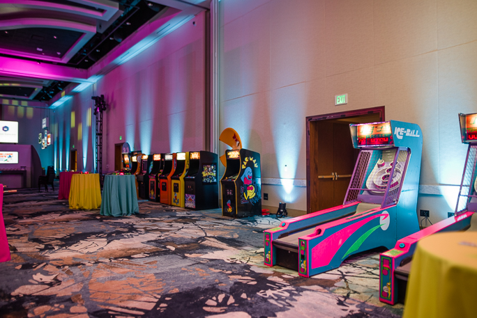 Decorated room with arcade games