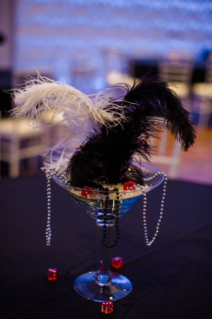 A centerpiece with feathers