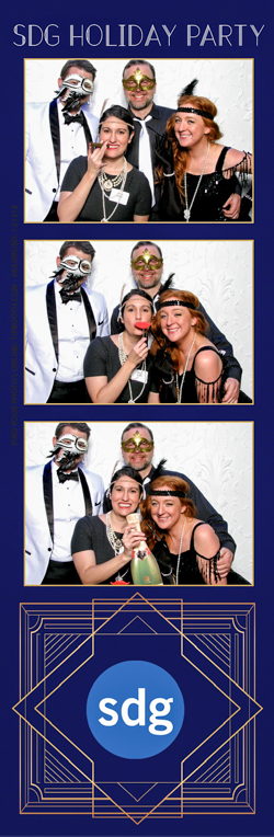 A photo strips with dressed up people smiling