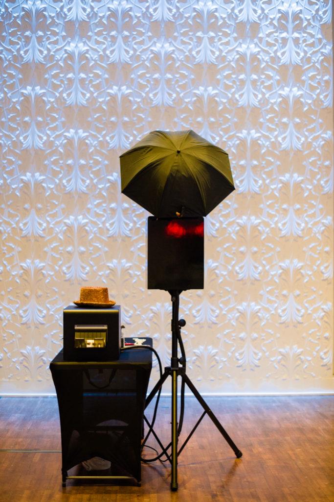 A photo station next a white background
